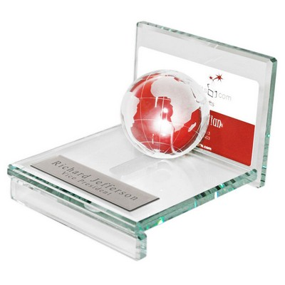 Personalized Glass Globe Business Card Holder