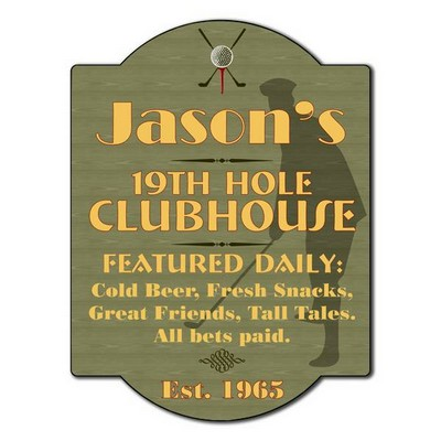 Personalized Golfers 19th Hole Clubhouse Sign