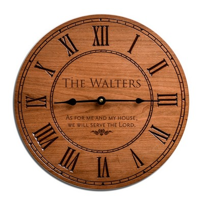 Personalized Gorgeous Cherry Wood Family 12 inch Wall Clock