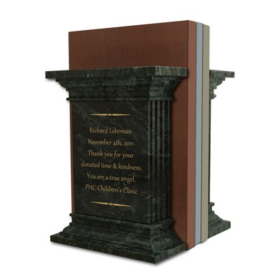 Personalized Green Marble Column Bookend