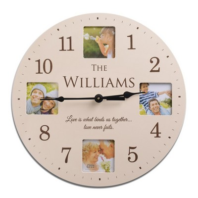 Personalized Ivory Finish Family Photo Wall Clock