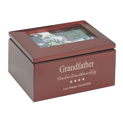 Personalized Keepsake Box with Picture Frame for Grandfather