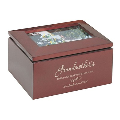 Personalized Keepsake Box with Picture Frame for Grandma