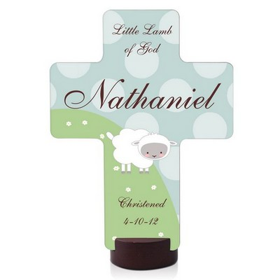 Personalized Little Lamb Keepsake Cross Plaque
