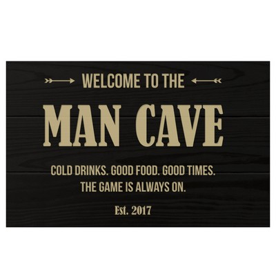 Personalized Man Cave Black Wall Panel