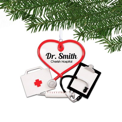 Personalized Medical Heart Holiday Ornament