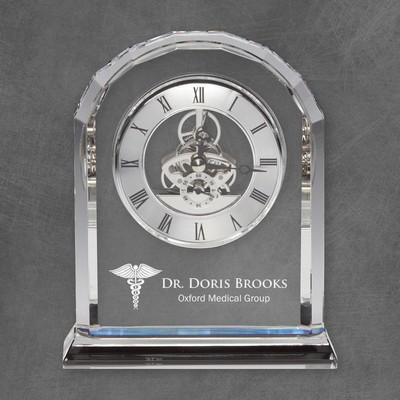 Personalized Medical Rounded Edge Crystal Clock for Doctors