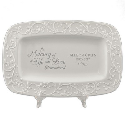 Personalized Memorial Lenox Carved Tray