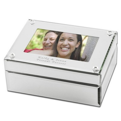 Personalized Mirrored Glass Photo Jewelry Box