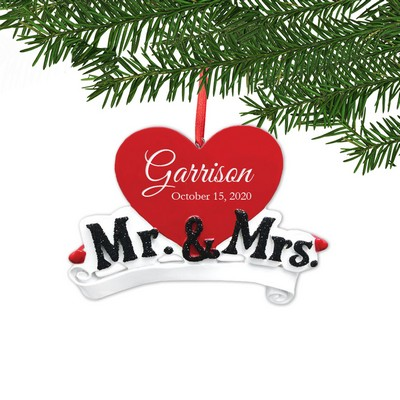 Personalized Mr. & Mrs. Heart Ornament