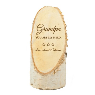 Personalized Natural Birch Wood Plaque for Grandpa