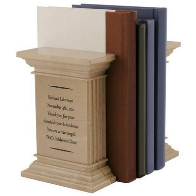 Personalized Natural Marble Column Bookends