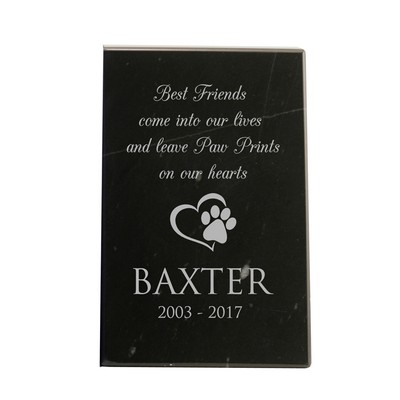 Personalized Pet Memorial Black Marble Plaque