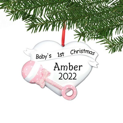 Personalized Pink Baby 1st Christmas Heart Ornament