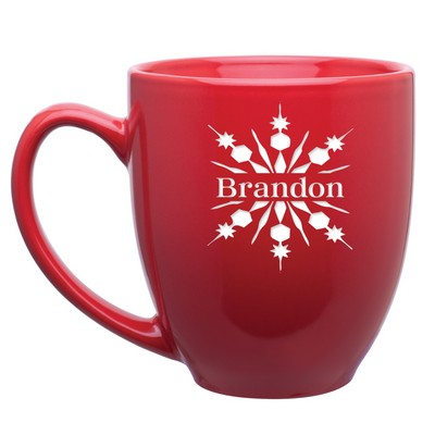 Personalized Red Ceramic Snowflake Bistro Mug