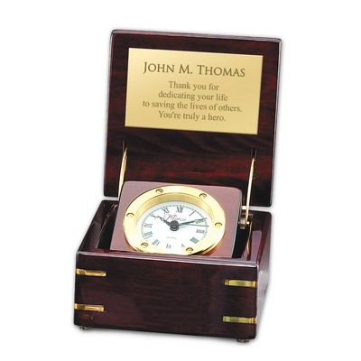 Exceptional Personalized Rosewood Piano Finish Clock With Brass Accents
