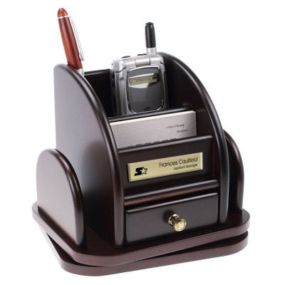 Personalized Rosewood Rotating Desktop Organizer