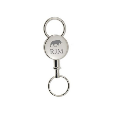 Personalized Round Silver Detachable Key Chain with Bull
