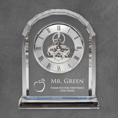 Personalized Rounded Edge Crystal Clock for Teachers