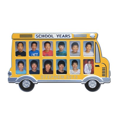 Personalized School Years Yellow Bus Picture Frame