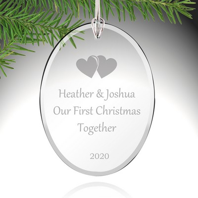 Personalized Couples First Christmas Glass Ornament