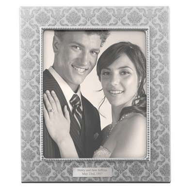 Personalized Silver Patterned Ceramic 8x10 Picture Frame