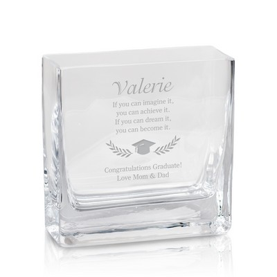 Personalized Square Glass Vase for Graduates