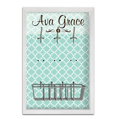 Personalized Teal Pattern Framed Accessory Board