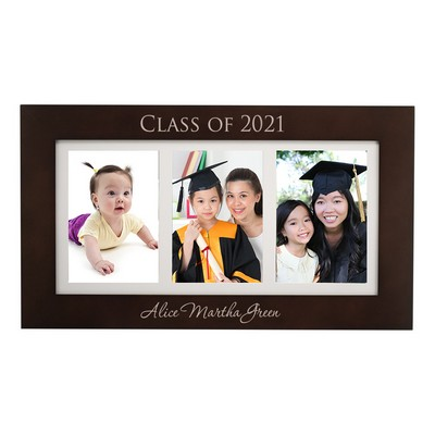 Personalized Triple 5x7 Graduation Dark Walnut Picture Frame