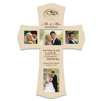 Personalized Wedding Photo Collage Wall Cross