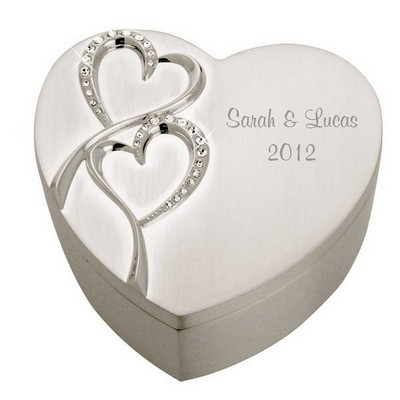 Personalized Wedding Romance Silver Heart Keepsake Box