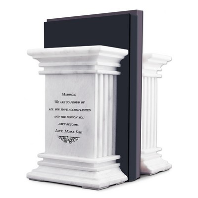 Personalized White Marble Column Bookends