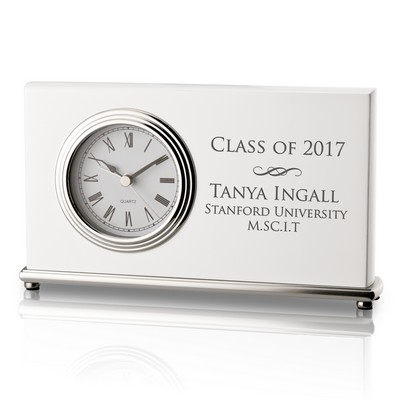 Personalized White Piano Finish Modern Clock for Graduates