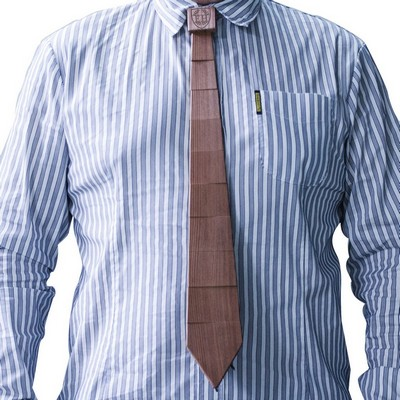 Personalized Wooden Striped Wood Tie