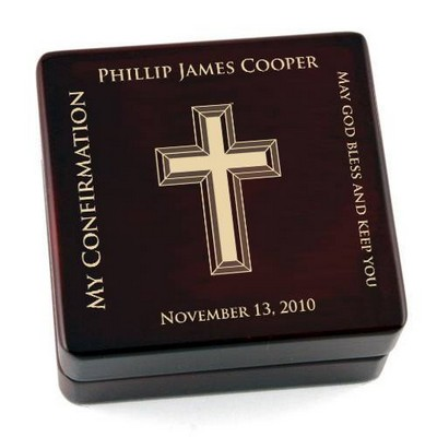 Personalized Contemporary Confirmation Wooden Rosary Box