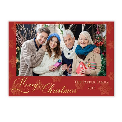 Red And Gold Snowflake Family Photo Christmas Card