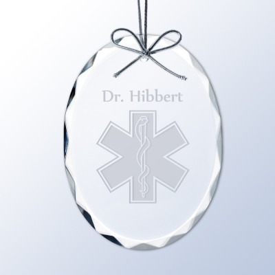 rod of asclepius personalized crystal ornament for doctors