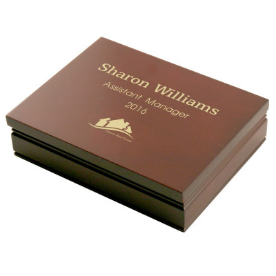 Rosewood Box with Logo and Two Decks of Bridge Cards