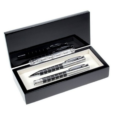 Silver Rings Carbon Fiber Double Pen Set
