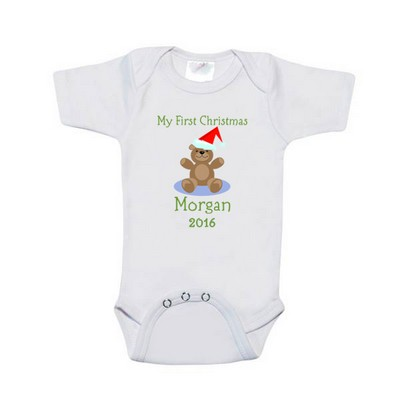 Babys First Christmas Personalized Bodysuit