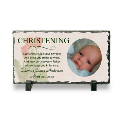 Personalized Christening Photo Slate Plaque