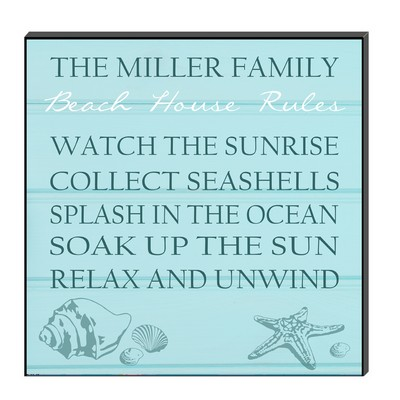 Personalized Beach House Rules Wall Panel