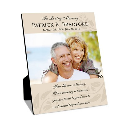 Personalized 8x10 Memorial Photo Panel with Easel