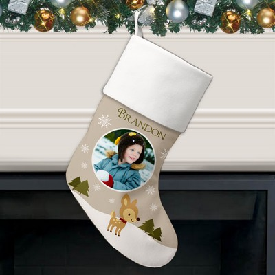Little Reindeer Holiday Photo Personalized Stocking