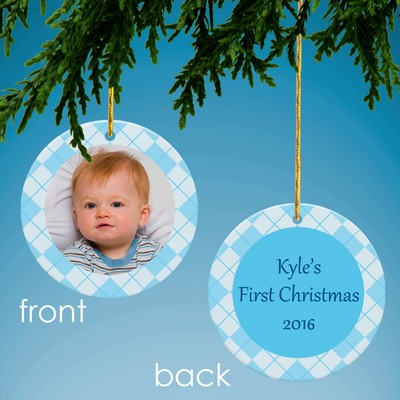 Baby Blue Personalized Photo Ornament