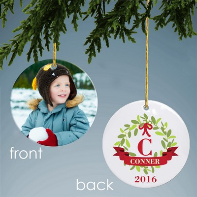 Personalized Mistletoe Ceramic Photo Ornament