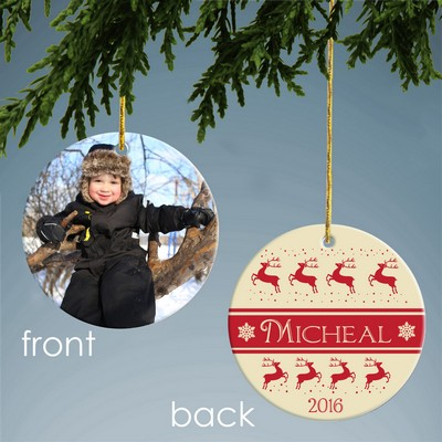Personalized Reindeer Pattern Ceramic Photo Ornament