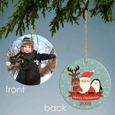 Santa and Friends Personalized Ceramic Photo Ornament