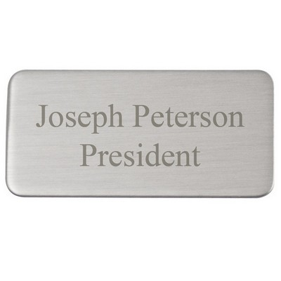Satin Silver Aluminum Rounded Rectangle Engraving Plate 1 x 2