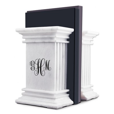 Script Monogrammed White Marble Column Bookends